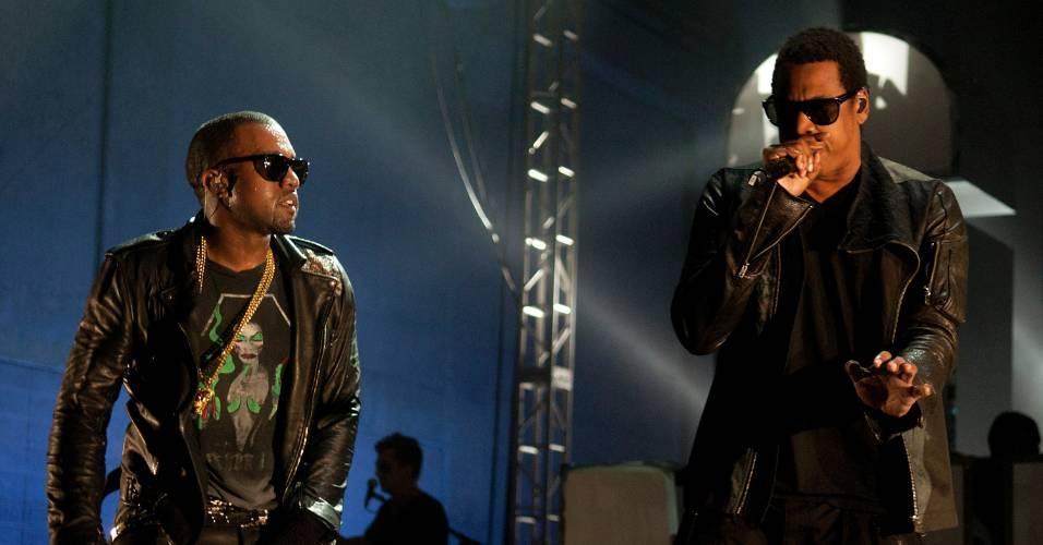Os rappers Kanye West e Jay-Z durante apresentação em Austin, no Texas (19/03/2011)