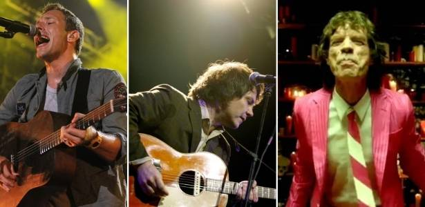 Chris Martin (Coldplay), Jeff Tweedy (Wilco) e Mick Jagger (Superheavy) em montagem