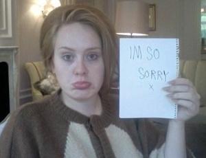 Adele posta foto no Twitter pedindo desculpa para fãs por cancelamento de shows (10/9/2011)