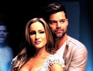 Claudia Leitte e Ricky Martin, na grava��o do clipe
