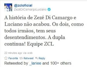 Mensagem postada no Twitter oficial da dupla Zezé di Camargo e Luciano após anúncio do término (27/10/2011)