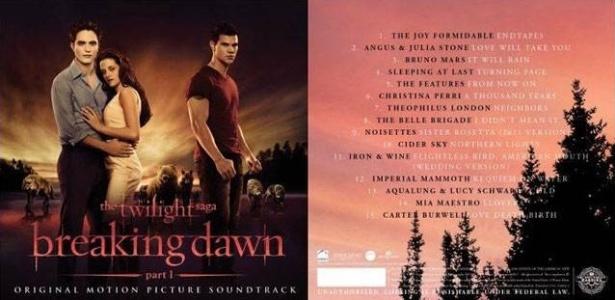 Capa da trilha sonora do filme Amanhecer - Parte 1, da saga Crepúsculo