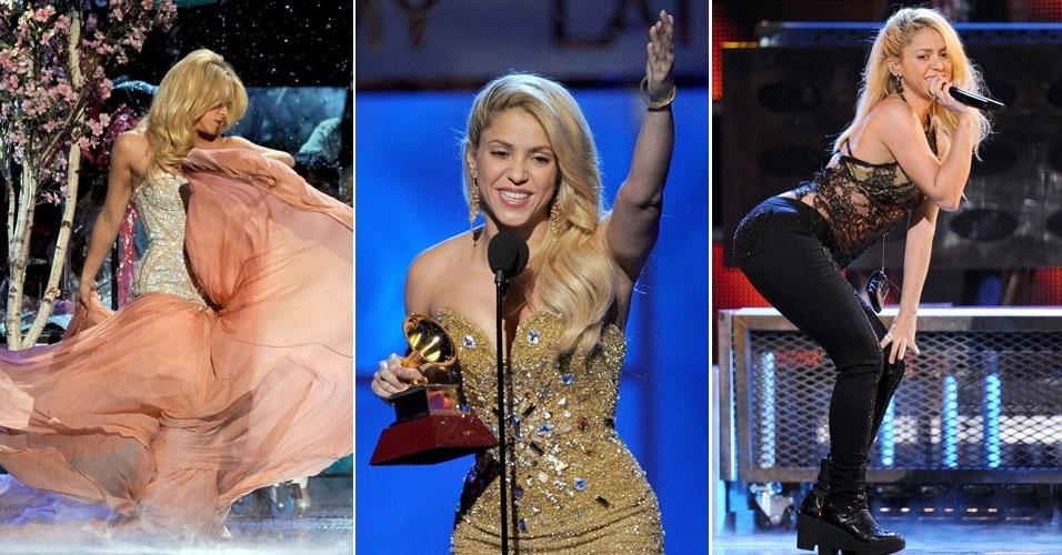 Shakira em três momentos diferentes no Grammy Latino 2011 (11/11/11)
