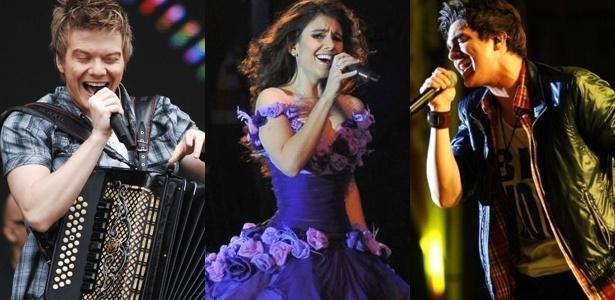 Da esquerda para a direita, os cantores sertanejos Michel Tel�, Paula Fernandes e Luan Santana