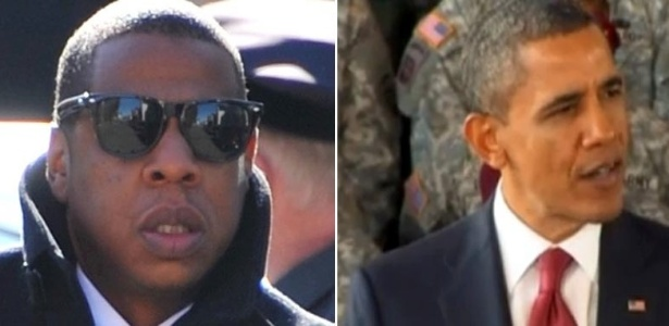 Montagem com o rapper Jay-Z (esq.) e o presidente Barack Obama (18/1/12)
