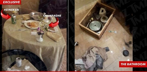Imagens divulgadas pelo site TMZ mostram a �ltima refei��o da cantora Whitney Houston e o ch�o do banheiro onde ela morreu