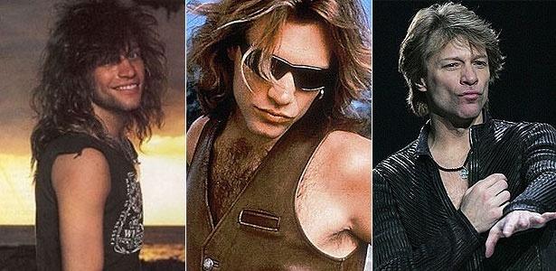 Jon Bon Jovi e seus cabelos, em diferentes fases