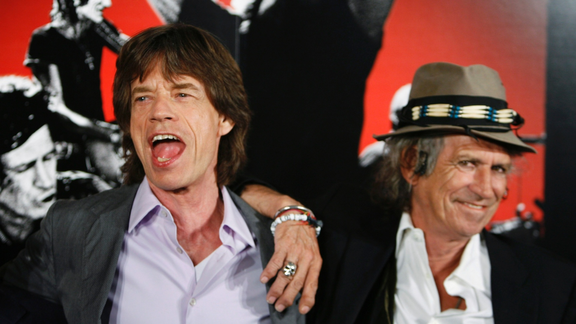 Mick Jagger e Keith Richards durante evento do documentário