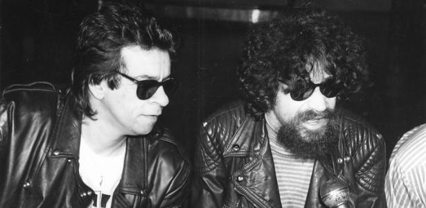 Os músicos Marcelo Nova e Raul Seixas, em foto tirada na década de 1980