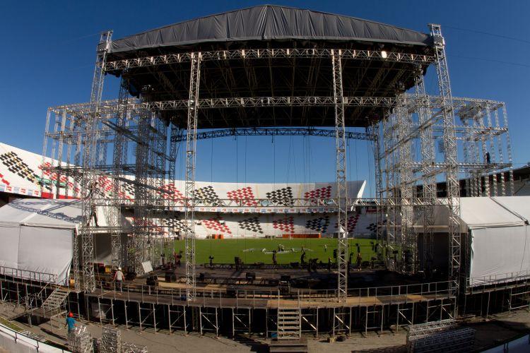 Palco montado para os shows de Paul McCartney em Recife. O músico levará à cidade a turnê