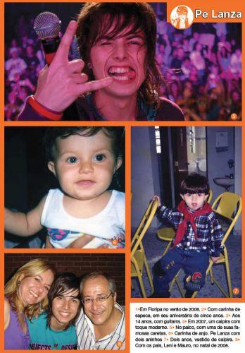 A página dedicada às fotos de Pe Lanza trazem o músico durante um show, ainda bebê com nove meses, aos dois anos vestido de caipira, e ao lado dos pais, Leni e Mauro, no Natal de 2008