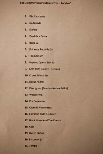 Setlist do show de gravação do DVD