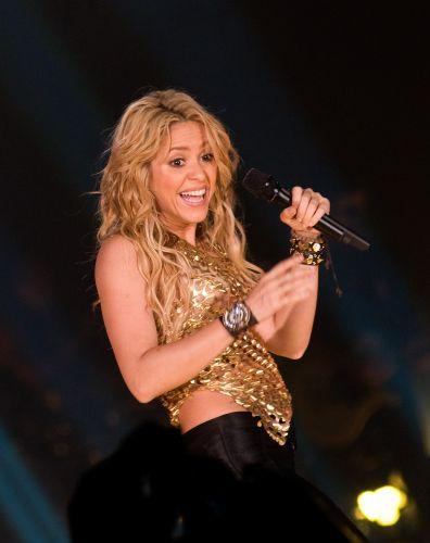 Shakira no palco do Palau Sant Jordi, em Barcelona, para mostrar a turnê que promove o disco novo