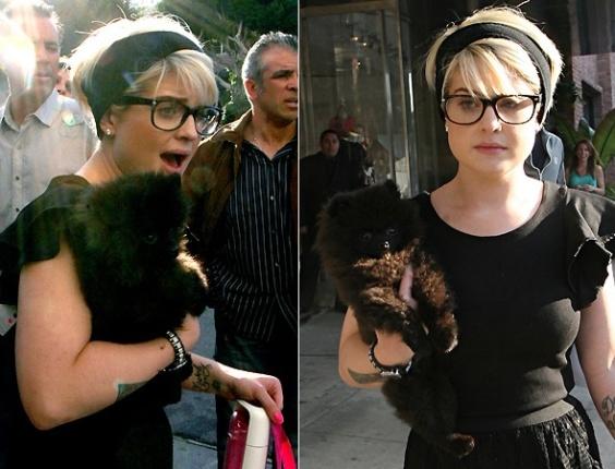 Kelly Osbourne não abandona o cão Sid nem na hora das compras em Beverly Hills (30/1/10)