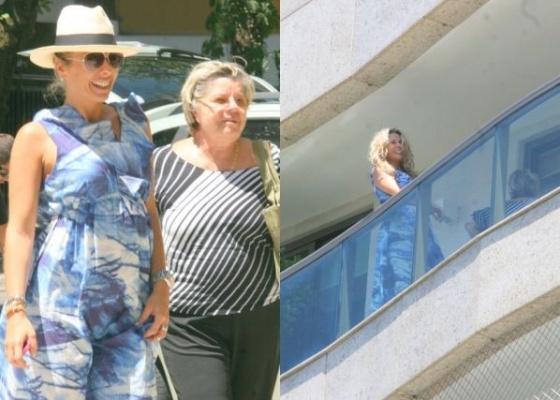 Grávida de 3 meses do empresário Alexandre Iódice, Adriane Galisteu chega ao seu apartamento no Leblon acompanhada pela mãe, Dona Ema, neste sábado (06/2/10)
