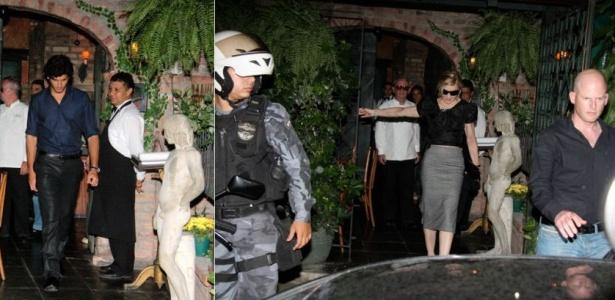 Jesus Luz e Madonna saíram para jantar em restaurante na Barra da Tijuca, na primeira noite da cantora no Brasil (9/2). Além dos seguranças particulares da cantora, policiais protegiam a porta do local do tumulto feito por fãs e fotógrafos (9/2/10)