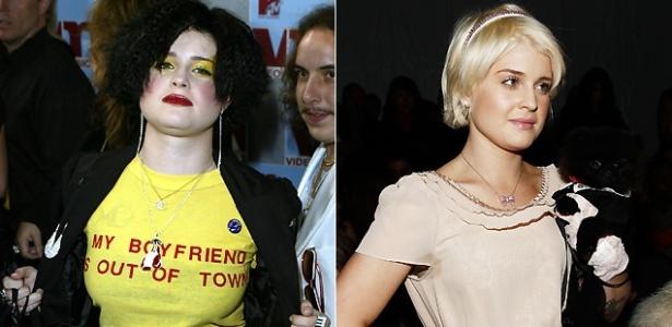 O antes e depois de Kelly Osbourne: à esq, Kelly em agosto de 2002; e à dir, em fevereiro de 2010. A cantora disse em entrevista à