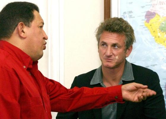Sean Penn e o presidente da Venezuela Hugo Chávez no Palácio Presidencial de Caracas, em Caracas (2/8/2007)