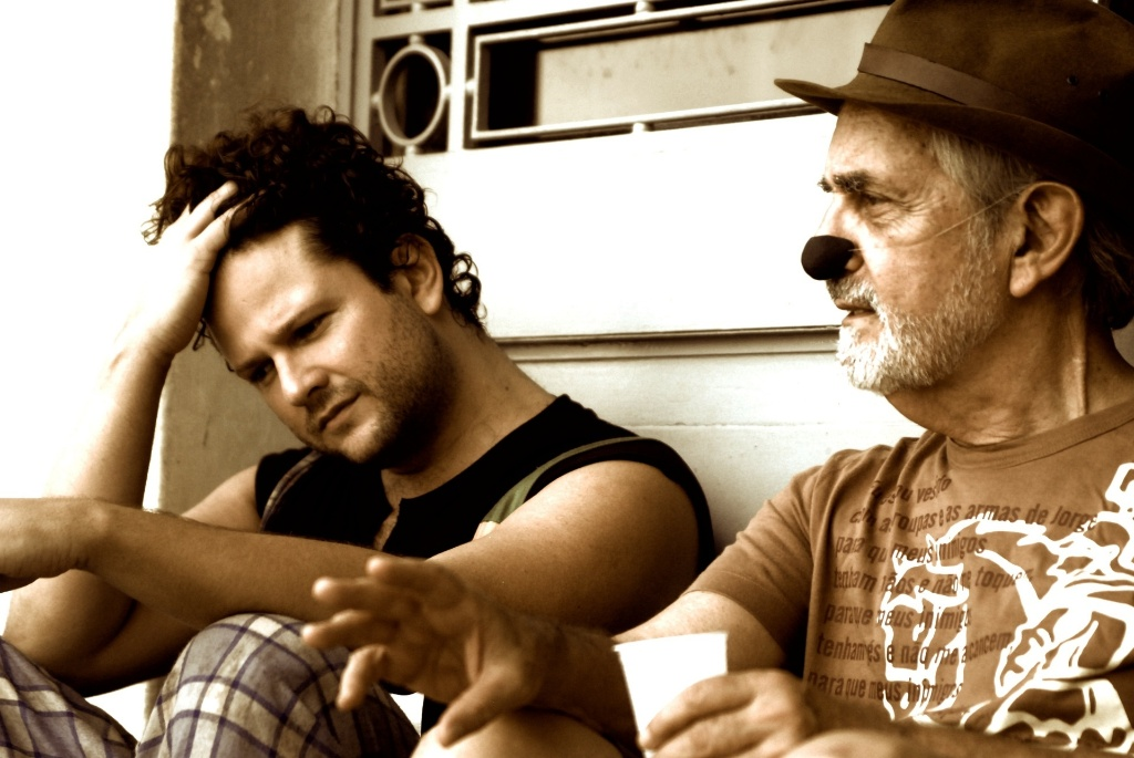 Selton Mello e Paulo José em intervalo das gravações do longa-metragem