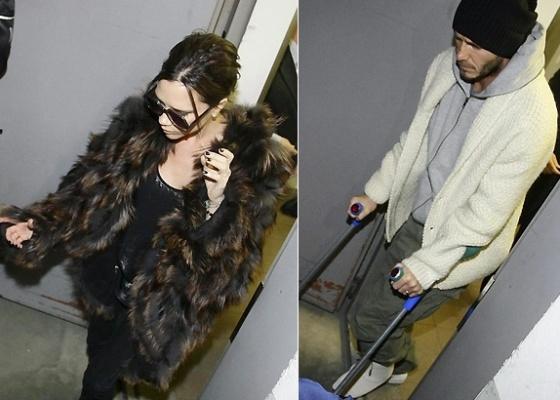 David Beckham deixa hospital na Finlândia acompanhado da mulher Victoria (17/3/2010)