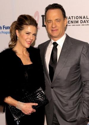 Rita Wilson e o marido, Tom Hanks, em 2013, em Los Angeles