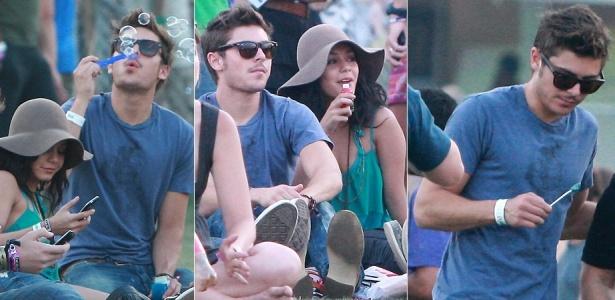 O ator Zac Efron brinca com bolinhas de sabão ao lado da namorada Vanessa Hudgens no terceiro dia do Coachella Festival em Indio na Califórnia (18/4/0010)