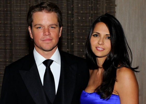 O ator Matt Damon e a mulher Luciana no American Cinematheque 24th Annual Award Presentation no The Beverly Hilton hotel, em Beverly Hills (27/3/2010)