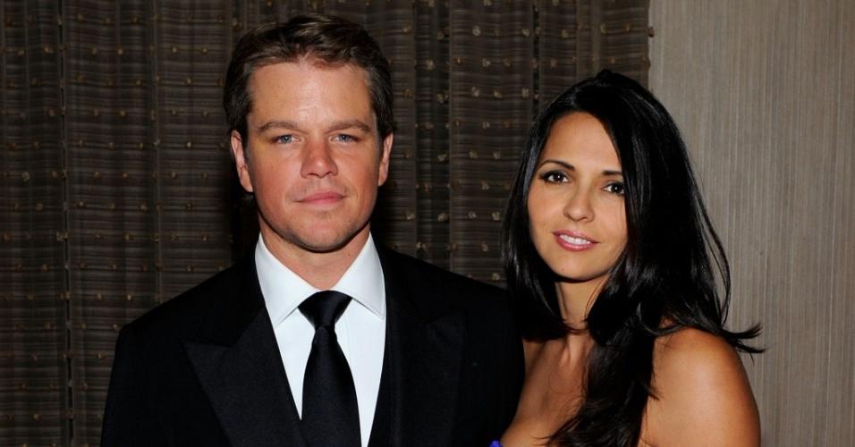 O ator Matt Damon e a mulher Luciana no American Cinematheque 24th Annual Award Presentation no The Beverly Hilton hotel, em Beverly Hills (27/3/2010)