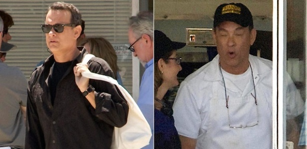 O ator Tom Hanks é fotografado de avental no set de