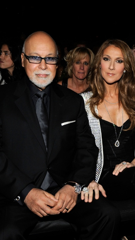 A cantora Celine Dion e o marido Rene Angelil na plateia da 52ª edição do Grammy, em Los Angeles (31/1/2010) - Larry Busacca/Getty Images for NARAS