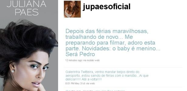 Reprodução do Twitter de Juliana Paes (22/6/2010)