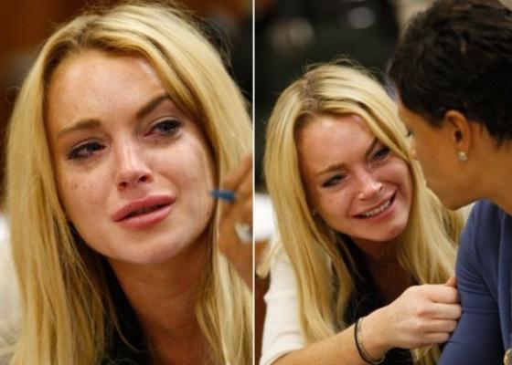 A atriz Lindsay Lohan chora ao escutar a sentença da juíza Marsha Revel, durante audiência em Los Angeles (6/7/10)