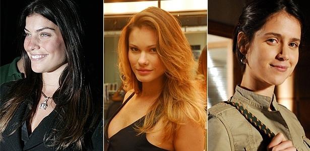 As atrizes Joana Balaguer (esq.), Karen Junqueira e Mel Lisboa (dir.), que estão no elenco de Sansão e Dalila, da Record