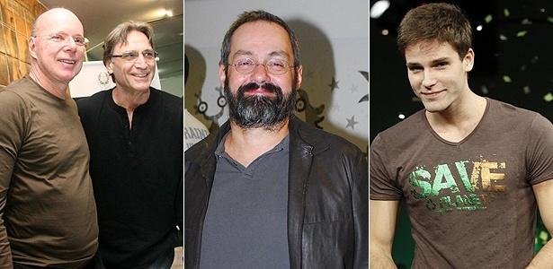 À esquerda, Gilberto Braga, autor da novela Insensato Coração, e os atores Herson Capri, Daniel Dantas e Jonatas Faro (à dir.) que farão parte do núcleo rico da trama