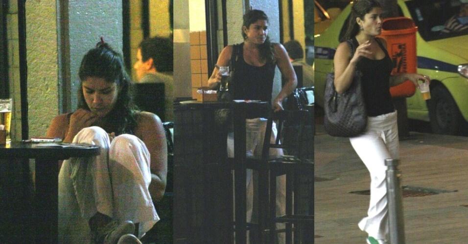A atriz Priscila Fantin foi flagrada em um bar da Gávea, zona sul do Rio de Janeiro, bebendo e fumando sozinha no local (21/7)