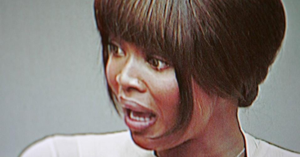 A modelo Naomi Campbell testemunha no Tribunal Especial de Haia para a Serra Leoa em em Leidschendam, na Holanda (5/8/2010)