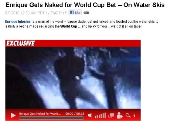 Reprodução do site TMZ de vídeo do cantor Enrique Iglesias esquiando nu (5/8/2010)