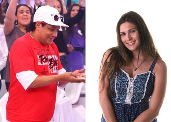 O assistente de palco Liminha e a atriz Lívia Andrade, do SBT