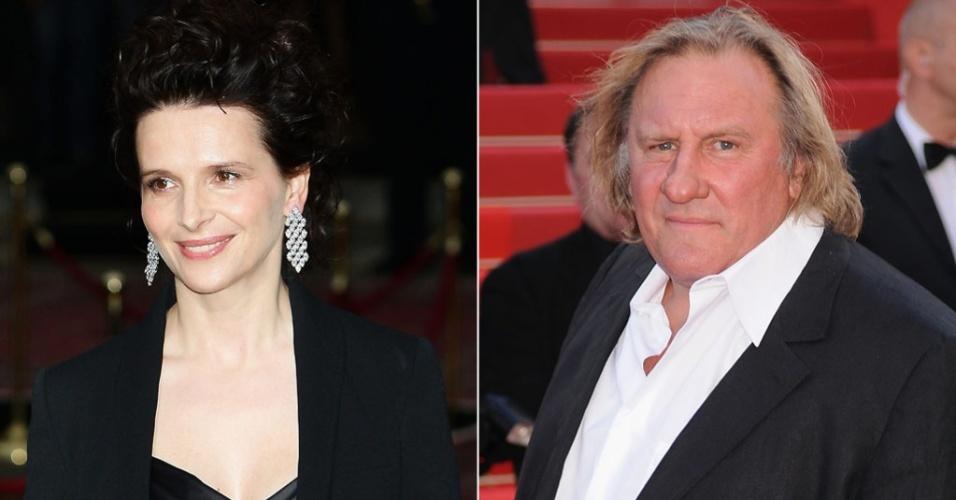 Os atores franceses Juliette Binoche (em desfile em Milão, 16/6/2010) e Gerard Depardieu (no Festival de Cannes, 20/5/2010)