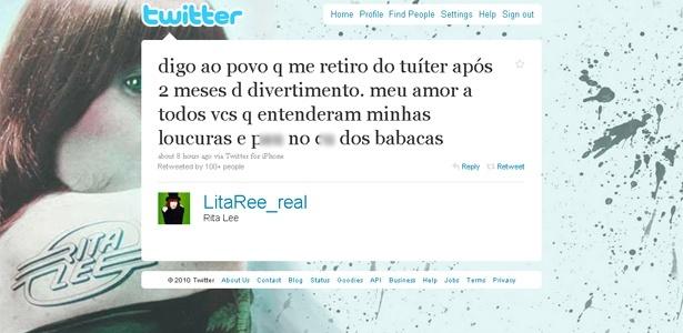 Post de Rita Lee em que ela se despede do Twitter