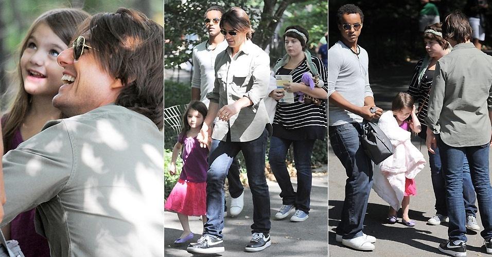 Tom Cruise passeia com os filhos Suri, Connor e Isabella pelo Central Park em Nova York (7/9/2010)