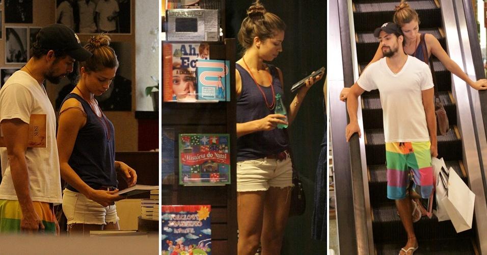 Cauã Reymond e Grazi Massafera escolhem livros em loja no shopping da Barra da Tijuca, no Rio de Janeiro (03/12/2010)
