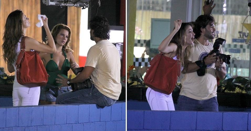 Fernanda Souza e Mônica Martelli gravam cenas da novela