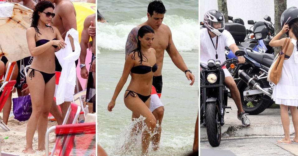 Ísis Valverde vai a praia da Barra da Tijuca com o namorado Luís Felipe Reif Pepi (04/12/2010)