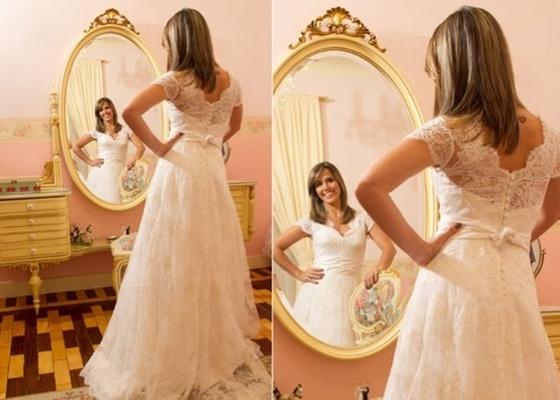 Fernanda Pontes mostra seu vestido de noiva (9/12/10)