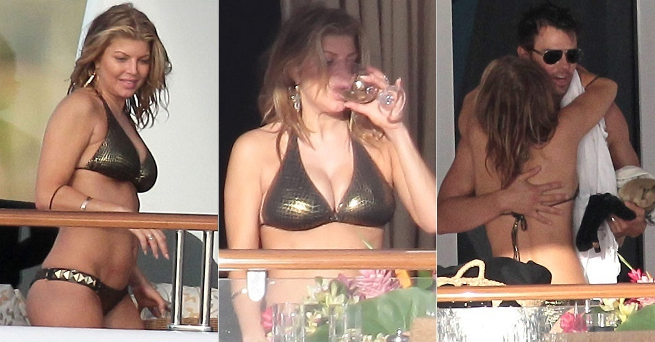 A cantora Fergie e o marido Josh Duhamel estão em St.Barts, hospedados em um iate alugado pelo rapper P.Diddy (2/1/2011)