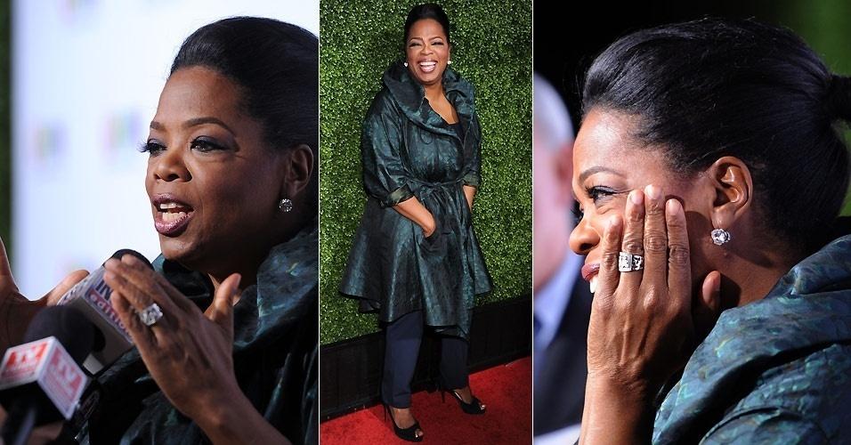 A apresentadora Oprah Winfrey fala com a imprensa ao chegar ao coquetel de divulgação de seu canal de TV Oprah Winfrey Network, em Pasadena, na Califórnia (6/1/2011)