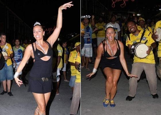 Adriane Galisteu no ensaio da Unidos da Tijuca, no Rio (13/1/2011)