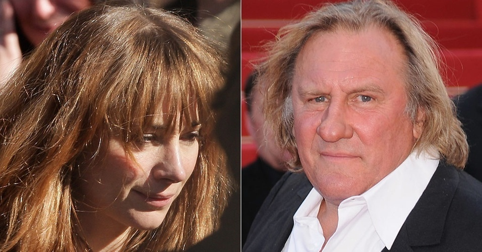 A atriz Julie Depardieu no enterro do irmão Guillaume Depardieu em Paris (17/10/2008) e o ator Gerard Depardieu no Festival de Cannes (20/5/2010)