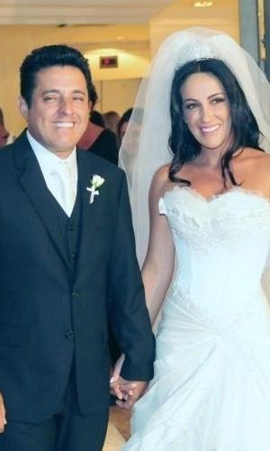 O sertanejo Bruno, parceiro de Marrone, durante seu casamento com a advogada Marianne no Terraço Daslu, em São Paulo (15/2/2011)